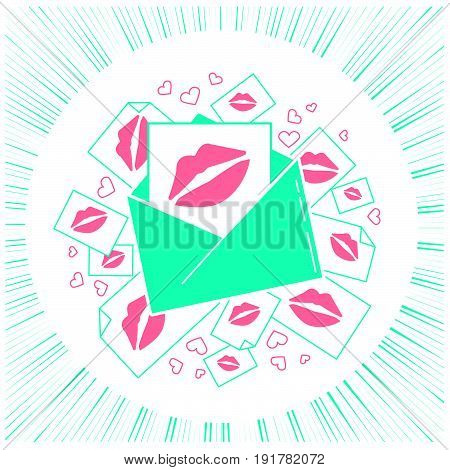 Concept Of Love Envelope With Kisses.