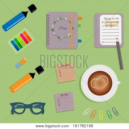 Stationery: Purple day planner spiral-bound with cute polka dots and wreath of flowers, leaves and twigs.Stiсkers. Markers Blue glasses.Pencil.Clips. A cup of coffee with a heart.Vector illustration.