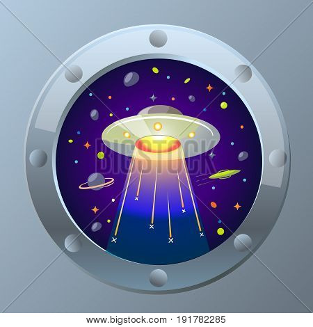 Illustration Ufo  Starry Sky