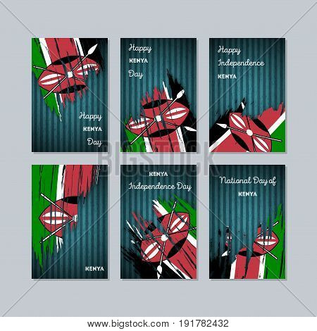 Kenya Patriotic Cards For National Day. Expressive Brush Stroke In National Flag Colors On Dark Stri