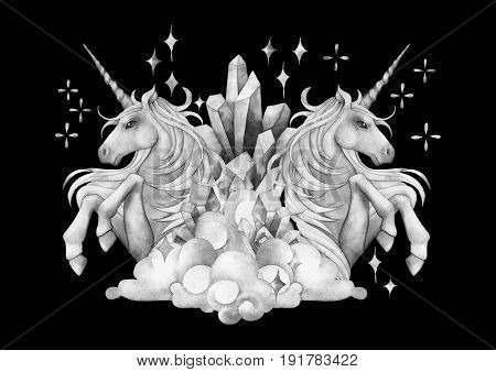 Cute watercolor unicorn in the sky. Mirror design. Hand drawn fantasy art in gray colors isolated on black background