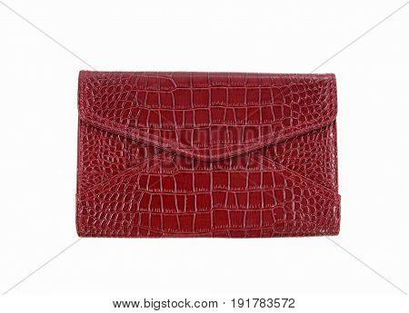 Clutch red handbag-white background