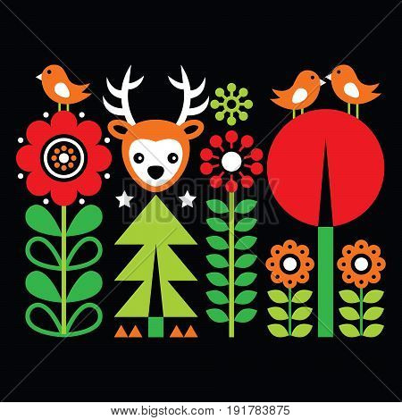 Scandinavian folk art pattern with flowers and animals, Finnish inspired design on black