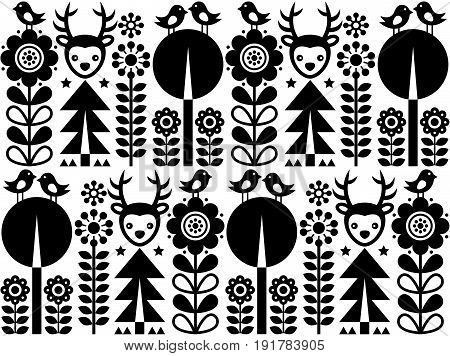 Scandinavian folk art pattern with flowers and animals, Finnish inspired design in black and white
