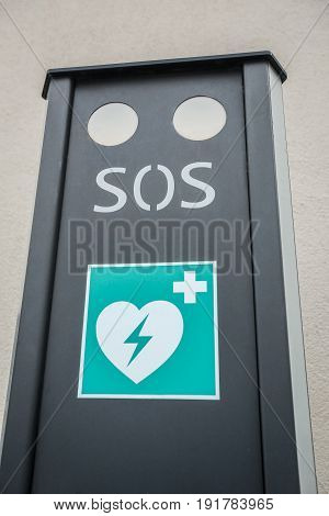 An SOS defibrillator automat in the street