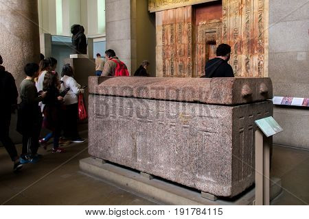 UK, London - April 08, 2015: British Museum. Sarcophagus were reserved for royalty and the elite, about 2400 BC