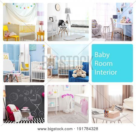 Ideas for child's room interior. Collage of creative designs
