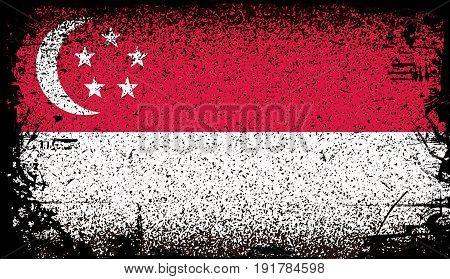 singapore Grunge flag. . vector Background Illustration