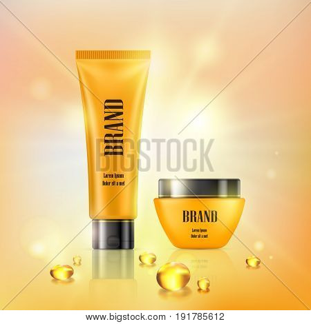 Vector 3D illustration poster with anti-aging cosmetic premium products, light background with beautiful yellow tube and jar and collagen capsules in a realistic style