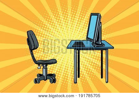 computer workstation and chair. Pop art retro vector illustration