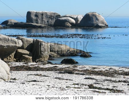 FROM CLIFTON, CAPE TOWN SOUTH AFRICA, WITH HUGE BOULDERS IN THE FORE GROUND AND BACK GROUND 29cds