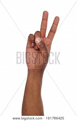Black hand shows number two isolated. Counting gesturing, enumeration, white background