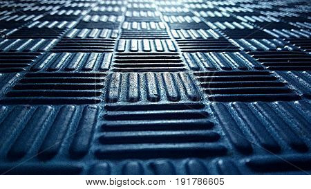 Perspective view of a mat with blue pattern