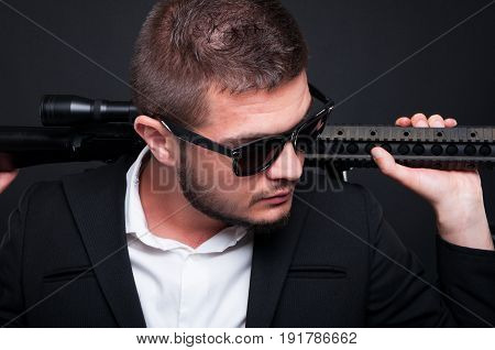Armed Gangster Man With Weapon