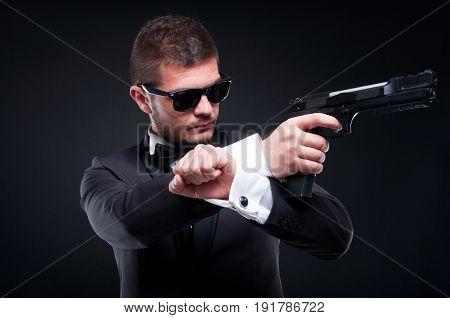 Mafioso In Suit Aiming Pistol At His Target
