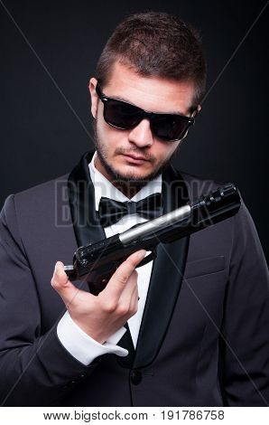 Powerful Gangster With A Gun Or Pistol