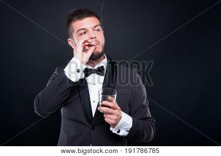 Man Smoking Cigar And Drinking Fine Cognac