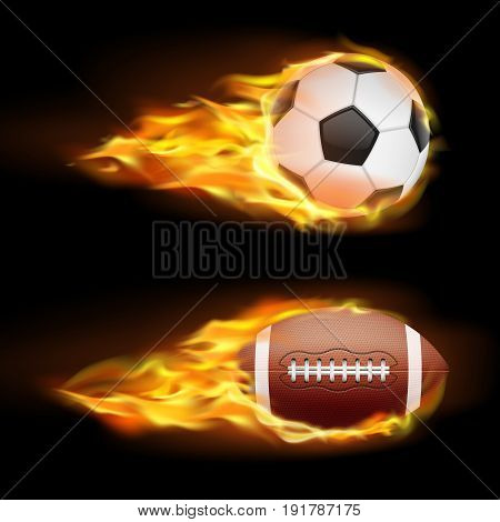 Vector set of sports burning balls, balls for soccer and American football on fire in a realistic style isolated on black. Print, template, design element