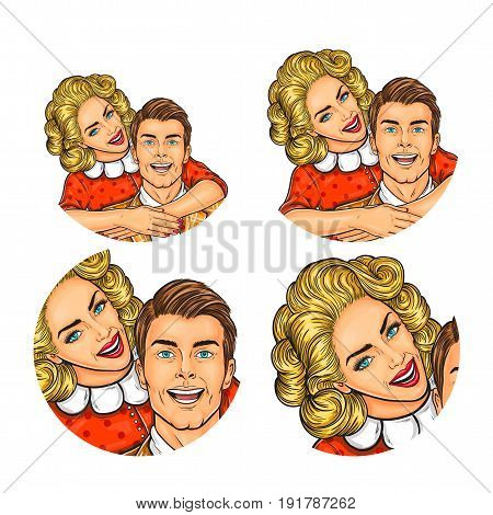 Vector illustration, womens and mens pop art round avatar icon for users of social networking, blogs. Girl hugs the man by the shoulders and whispers something in his ear