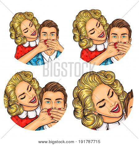 Vector illustration, womens and mens pop art round avatar icon for users of social networking, blogs. The woman closed mouth to the man with her palms