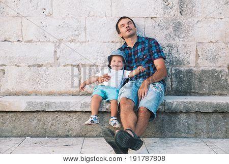 Father And Son In Zadar, Croatia.