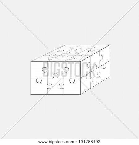 Jigsaw puzzle vector, blank simple template 3x2, sixpieces