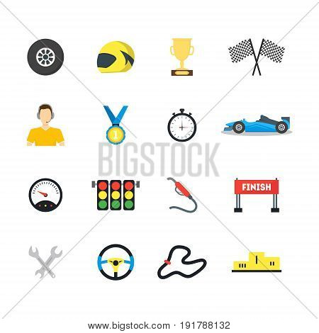 Cartoon Car Racing Symbol Color Icons Set Flat Style Design Element Sport Championship . Vector illustration