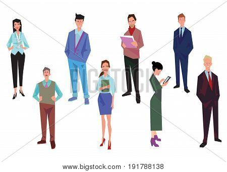 Group of office workers employees managers and team leader. Business people in casual and office clothes. Isolated on white. Business Icons. Business design. Vector
