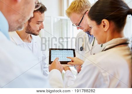 ECG Diagnostic with tablet computer and group of doctors