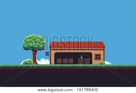 Pixel art game scene with ground, grass, tree, bush, sky, clouds, and house with wooden barrels and crates