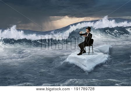 Surfing sea on ice floe. Mixed media