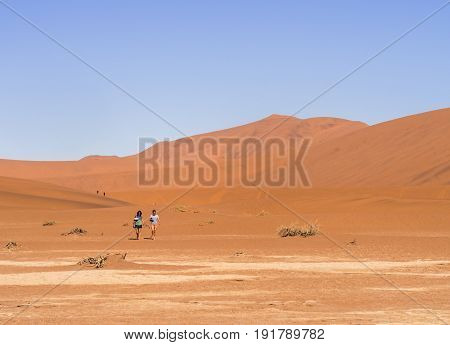 DEAD VLEI NAMIBIA - JUNE 19 2016: People walking to Dead Vlei in Namib-Naukluft National Park on Namib Desert Namibia.