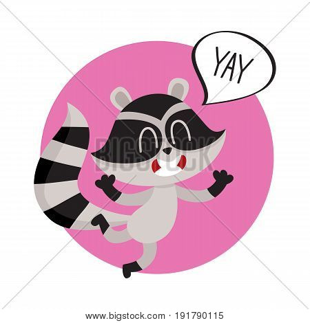 Cute raccoon character jumping from happiness with word Yay in speech bubble, cartoon vector illustration isolated on white background. Sticker with happy and excited little raccoon shouting Yay
