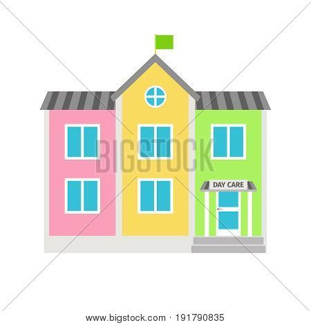 Daycare colorful building flat icon on white background. Vector illustration