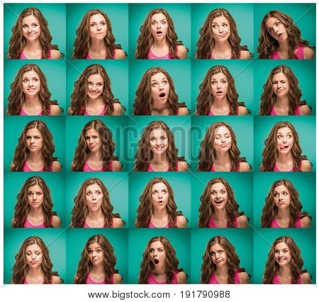 The young woman's portrait with different emotions on blue background. Collage