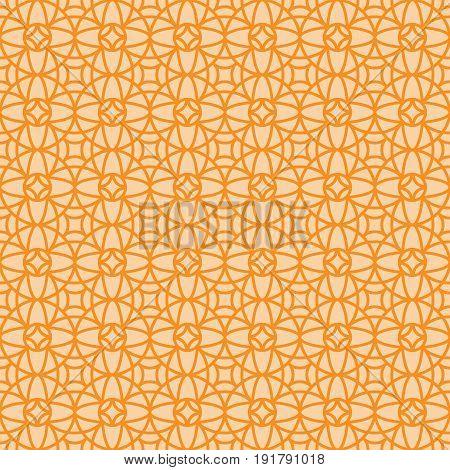 Orange vintage linear arabic style ornamental pattern. Vector illustration