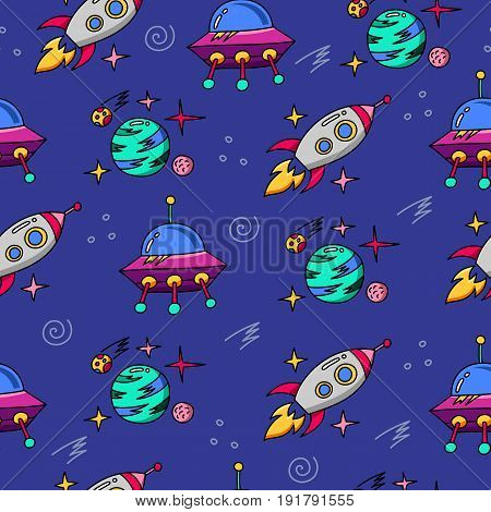 Space cartoon pattern seamless vector flat background