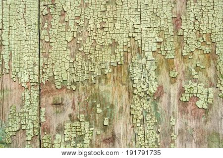 Texture of cracked dye on weathered wooden surface
