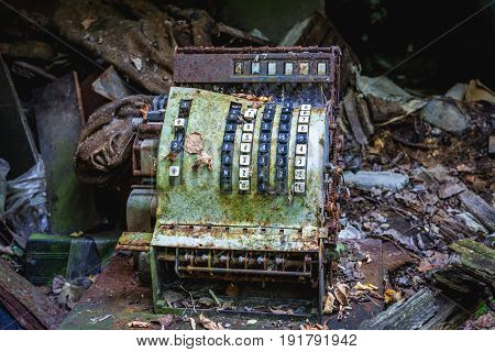 Old cashbox in abandoned Pripyat city in Chernobyl Exclusion Zone Ukraine