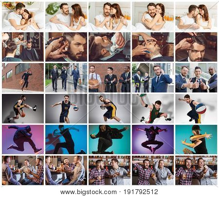 Collage about one day of life of young man with different emotions. Lifestile concept