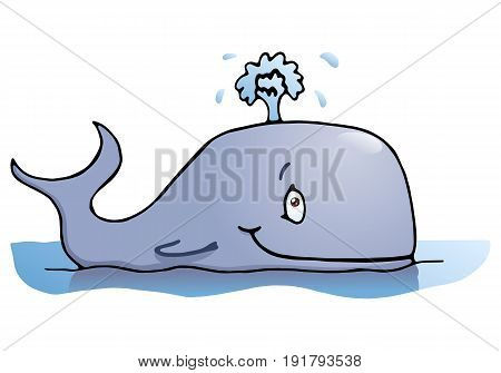 cartoon illustration of a happy big whale on isolated white background