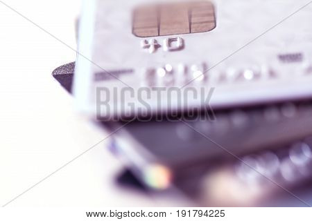 Close up stacking of credit cards with extremely shallow DOF