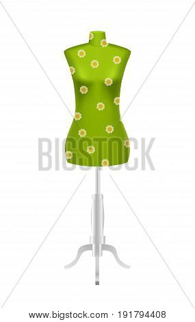Green female tailors dummy mannequin with flower pattern