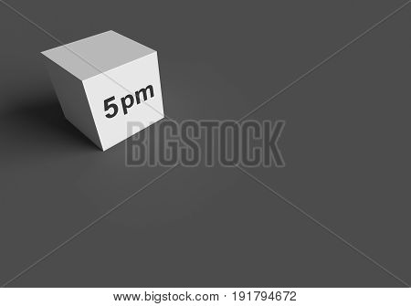 3D RENDERING WORDS 5 pm ON WHITE CUBE, STOCK PHOTO