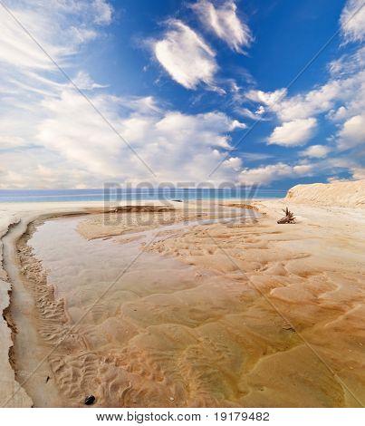 Red sand tropical beach. Photographed on Tioman island. Malaysia poster