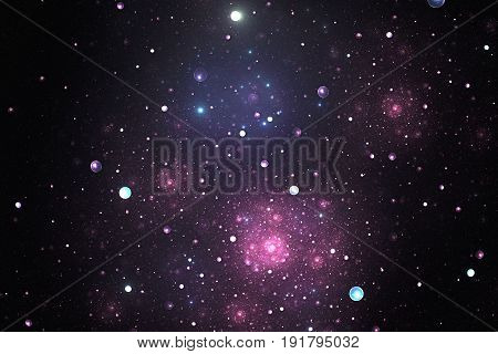 Fractal color illustration of deep space with stars and nebula