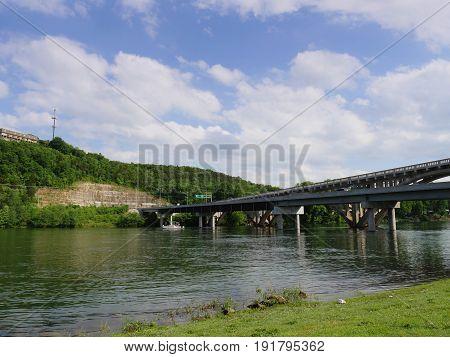 Bridge over Branson Landing, Missouri A double bridge near the Main Street landing cruises in Branson, Missouri