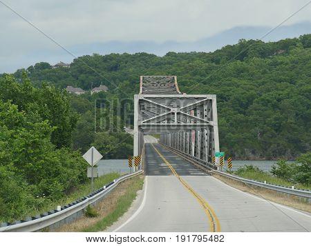 Covered bridge crossing Table Rock Lake, on the way to Branson, Missouri