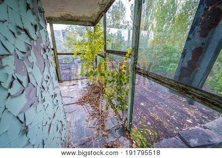 River station in abandoned Pripyat city Chernobyl Exclusion Zone Ukraine
