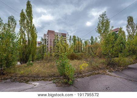 Abandoned Pripyat city in Chernobyl Exclusion Zone Ukraine